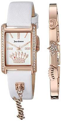 Juicy Couture Black Label Women's JC/1030RGST Swarovski Crystal Accented Rose Gold-Tone and White Leather Strap Watch and Bracelet Set