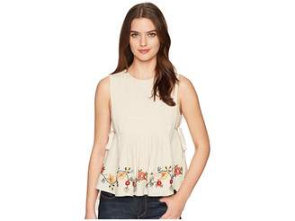 J.o.a. Embroidered Pleated Top with Side Tie