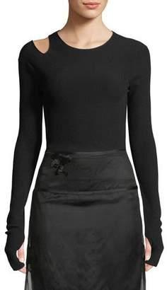Helmut Lang Slash Long-Sleeve Ribbed Shirt