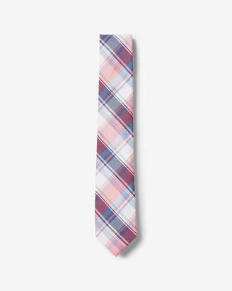 Express Narrow Plaid Silk-Cotton Tie