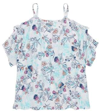 Splendid Floral Print Cold Shoulder Top