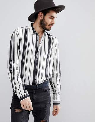 Asos Design DESIGN regular fit viscose stripe shirt