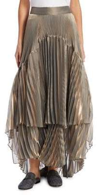 Brunello Cucinelli Lame High-Low Pleated Skirt