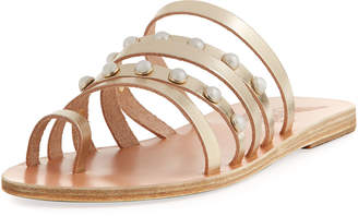 Ancient Greek Sandals Niki Pearly Studded Multi-Strap Flat Sandals, Silver