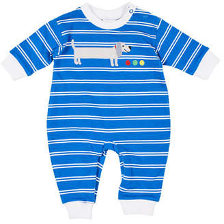 Florence Eiseman Boy's Striped Wiener Dog Applique Coverall, Size 3-18 Months