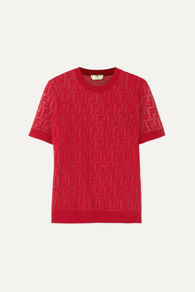 Fendi Intarsia-knit Cotton-blend Sweater - Red