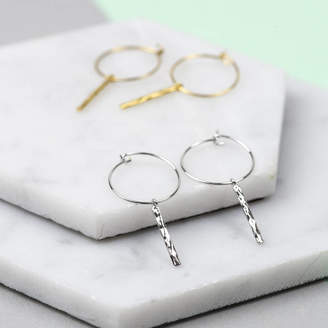 Nell Little Minimal Hammered Bar Hoop Earrings