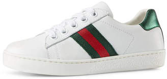 Gucci New Ace Leather Tennis Shoe, Youth $295 thestylecure.com