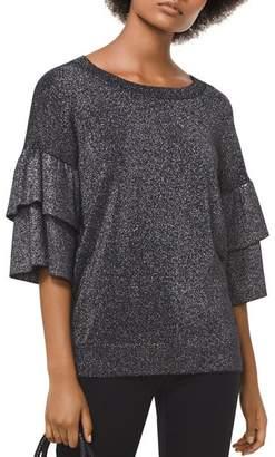 MICHAEL Michael Kors MICHAEL Metallic Ruffle Sleeve Sweater