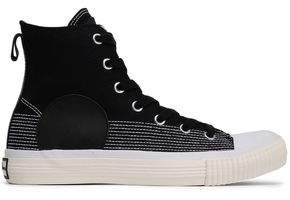 McQ Leather-trimmed Canvas High-top Sneakers