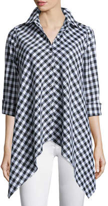 Go Silk Drama Gingham Handkerchief Shirt, Plus Size