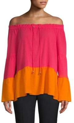 Donna Karan Colorblock Drawstring Blouse