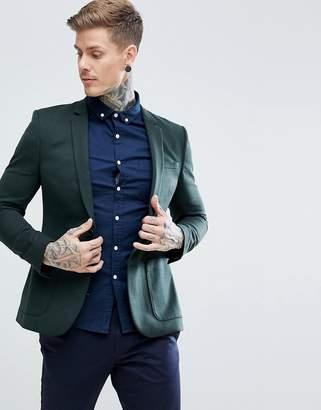 Asos DESIGN Wedding Super Skinny Blazer In Dark Green Wool Mix