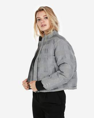 Express Plaid Abbreviated Puffer Coat