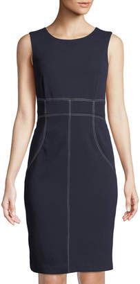 Iconic American Designer Contrast-Stitched Sheath Dress