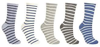 96495587f13de John Lewis & Partners Striped Ankle Socks, Pack of 5, Neutral