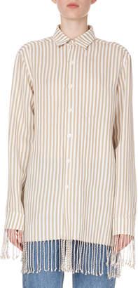 Loewe Long-Sleeve Button-Down Striped Shirt w/ Fringe