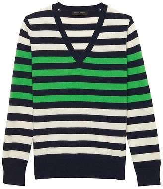 Banana Republic Cashmere Stripe V-Neck Sweater