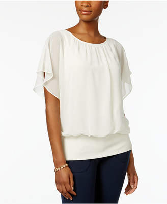 JM Collection Petite Flutter Sleeve Top