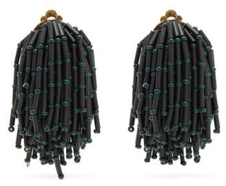 Vanda Jacintho - Shower Clip On Bead Tassel Earrings - Womens - Dark Green