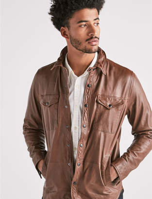 Lucky Brand Leather Shirt Jacket