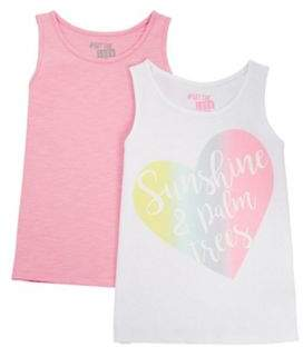 F&F 2 Pack Of Plain And Rainbow Heart Vest Tops 11-12 years