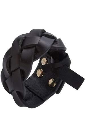 Saint Laurent Black Leather Braided Cuff
