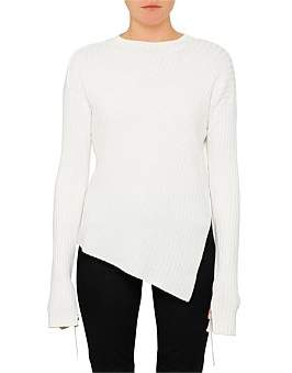 Helmut Lang Twisted Paper Ribs Crew Neck Knit