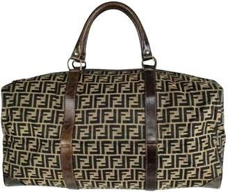 627d72d0d145 ... Fendi Vintage Brown Cloth Travel Bag