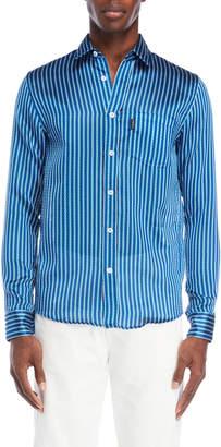 Fiorucci Blue Woven Stripe Pocket Shirt