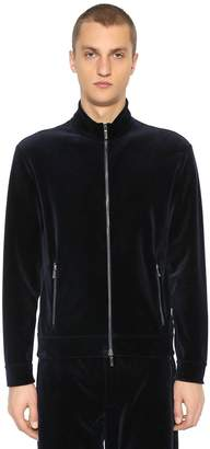 Giorgio Armani Zip-Up Cotton Velvet Sweatshirt