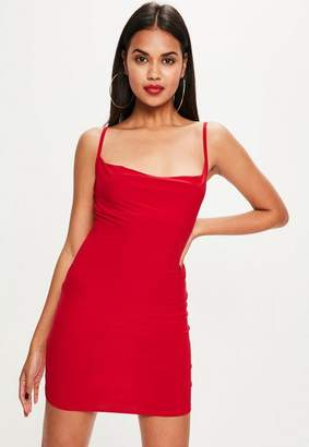 Missguided Petite Red Slinky Cowl Neck Dress