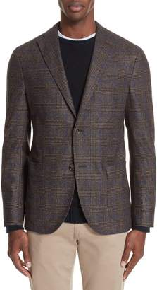 Boglioli Trim Fit Stretch Plaid Wool Blend Sport Coat