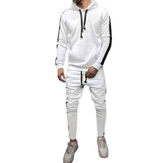 Limsea Men Blouses Limsea Men's Autumn Winter Patchwork Hoodie Sweatshirt Top Pants Sets Suit Tracksuit(,L)