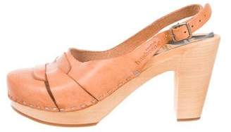 Swedish Hasbeens Leather Round-Toe Sandals