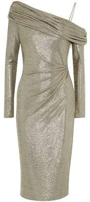 Rachel Zoe Cold-Shoulder Metallic Stretch-Knit Ruched Dress