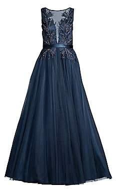 bf74637c9b2e Basix Black Label Women s Sheer Embroidered A-Line Gown