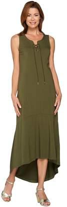 Isaac Mizrahi Live! Petite Lace-Up Neck Hi-low Hem Maxi Dress