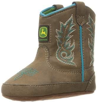 John Deere Girls' Bab DIS With Turq Stitch PO Pull-On Boot