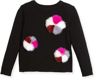 Milly Minis Pompom Pullover Knit Sweater, Size 8-14