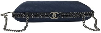 Chanel Blue Silk Clutch Bag