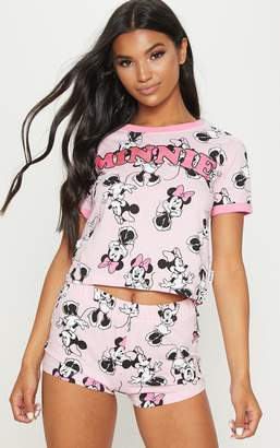 PrettyLittleThing Pink DISNEY Minnie Mouse Printed Short Pyjama Set