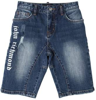 John Richmond Logo Print Stretch Denim Shorts