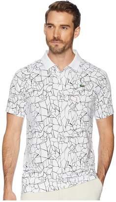Lacoste Sport Novak Djokovic Short Sleeve Ultra Dry Polo W/ All Over Net Print Ergnomic Back Men's Sweater