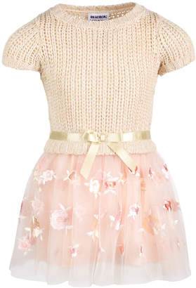 Blueberi Boulevard Toddler Girls Embroidered Sweater Dress