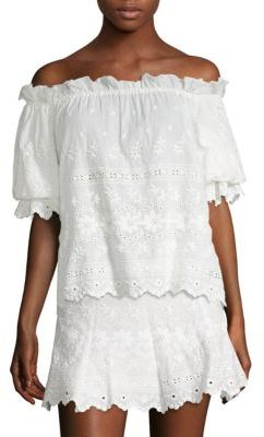 LOVESHACKFANCY Carrie Off-the-Shoulder Top $245 thestylecure.com