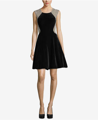 Xscape Evenings Velvet Embellished Fit & Flare Dress