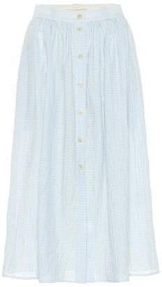 Brock Collection Exclusive to Mytheresa Olivo gingham cotton midi skirt