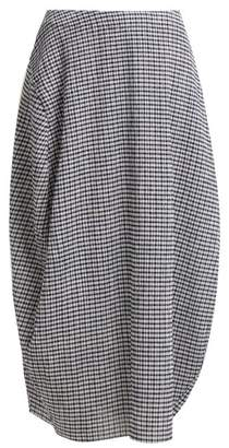 Jil Sander Low Rise Gingham Midi Skirt - Womens - Navy White