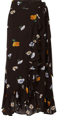 Ganni Floral-print Crepe De Chine Wrap Skirt - Black